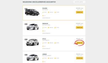 Come prenotare - seleziona veicolo